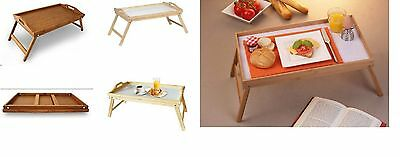 Bamboo Lap Tray Folding Legs Pine Wood Wooden Over Bed Table Breakfast Serving