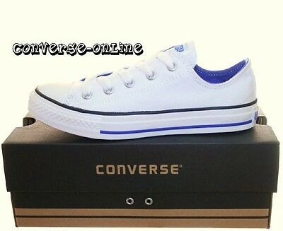 KIDS Older Boy's Girls CONVERSE All Star WHITE BLUE Low Trainers Shoes UK SIZE 1