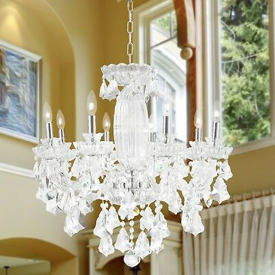"USA BRAND Olde World 8 Light Chrome French Crystal Chandelier 25"" x 25"" Large"