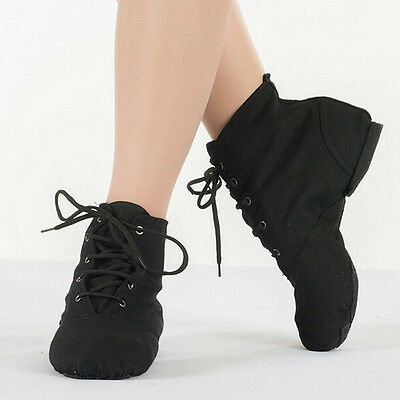 Black Ladies Kids Dancing Pure Soft Canvas Toe Ballet jazz Womens Dance Shoes