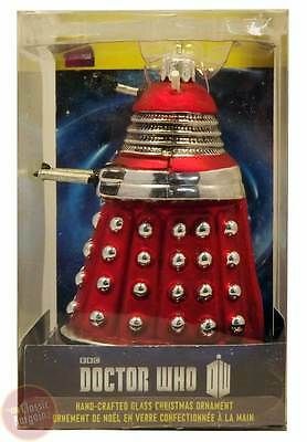 "Doctor Who - Dalek (Red) 5"" Glass Xmas Ornament NEW Christmas Tree Decoration"