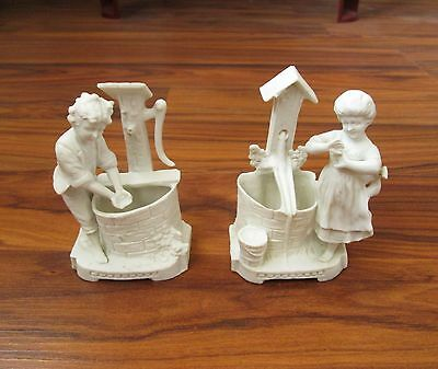 PAIR of 2 ANTIQUE GERMAN WHITE PORCELAIN BISCUIT BOY & GIRL FIGURINE SMALL VASE