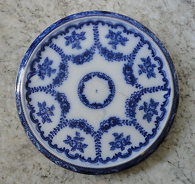 Antique 1910 Blue & White Brown & Steventon Ruby Cheese Plate / Teapot Stand