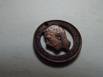 George V Farthing 1911 Cut Out Coronation Trench Art Fob (7478)