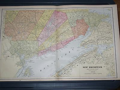 1888 LARGE  Cram Original  Antique  MAP Southern NEW BRUNSWICK CANADA