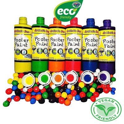 Kids Paint Set Washable Poster Paint Children Paint 6 x 250ml Lolly Colours
