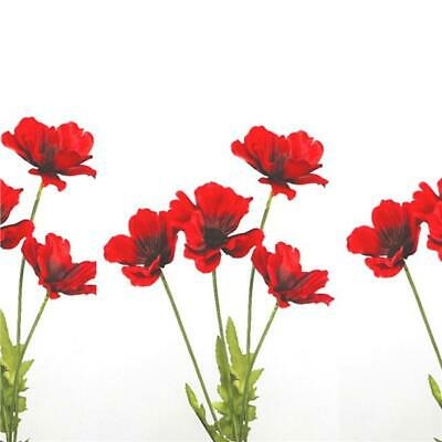 Artificial Poppy Flame Red X3 Stems Decorative Red Silk Poppies