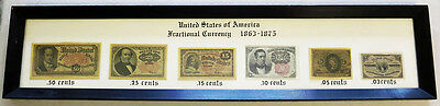 1863 - 1875 United States Of America Fractional Currency  Framed Wall Plaque