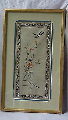 Antique Chinese Silk Embroidery Forbidden Stitches A Bird Over The Flowers.