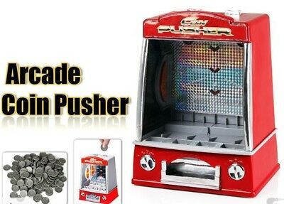 Novelty Mini Arcade Fairground Coin penny Pusher Game Replica Family Children