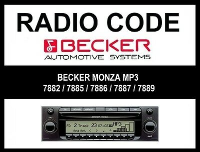 █►Radio Code BECKER MONZA MP3 BE7882 BE7885 BE7886 BE7887 BE7889 BE7899