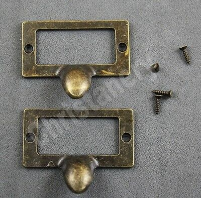 10pc Vintage Solid Brass Label File Name Card Holder cabinet Drawer Pull 56*46mm