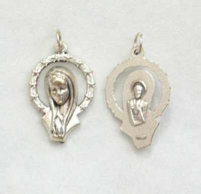 Mary Halo Medallion Pendant, 26mm Silver Tone, Made In Italy Quality