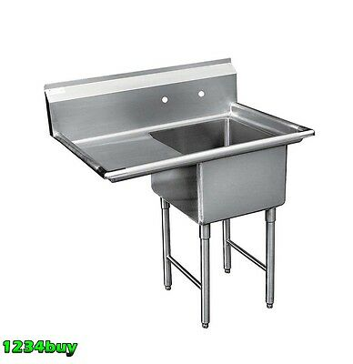 "ACE 1 Compartment Stainless Steel Sink 18"" x 18""w/ Left Drainboard ETL SE18181L"