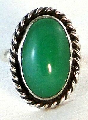 Vintage, Hand-Carved Green Oval Agate Sterling Silver Statement Ring, Size 7-3/4
