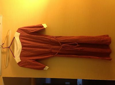 New Old Stock Vintage 1970s Maroon Heather & White Polyester Belt Dress Small 5