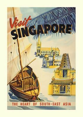 Visit Singapore  Large Metal Tin Sign Poster Wall Plaque Retro Vintage