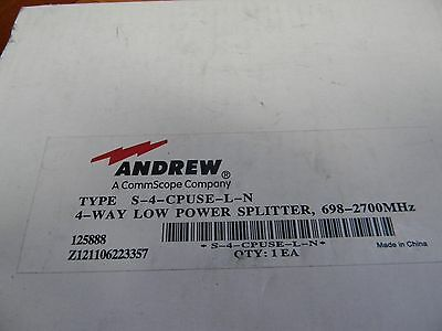 Andrew 4 Way Power Splitter S-4-Cpuse-L-N