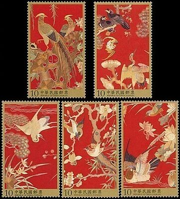 Taiwan Stamp(4095-4099)-2013-特586-Qing Dynasty Embroidery Peacock Birds stamps
