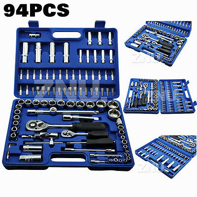 "94Pcs Socket Mechanics Ratchet Tool Set Case 1/4"" 1/2"" Drive"