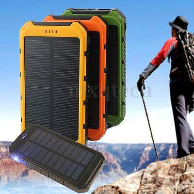 20000Mah Dual Usb Beteria Externa Solar Cargador Power Bank W/v8 Cable Colores