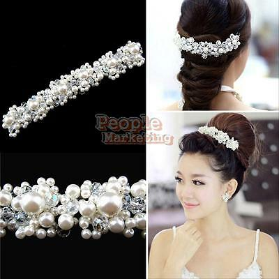 Crystal Prom Pearl Rhinestone Flower Party Bridal Headband Hair Comb Band Clip