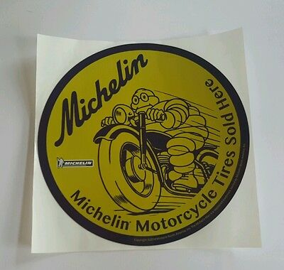 "Michelin Tires Sticker, 5"" round, Michelin Man, Motorcycle, 2 sided, POS"