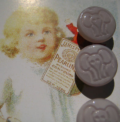 "Set of 4 ~ Vintage 1/2"" Lavender Elephant Glass Buttons~old stock 1920's"