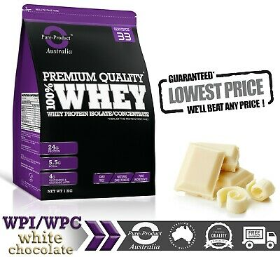1Kg  -  Whey Protein Isolate / Concentrate -White Chocolate -  Wpi Wpc  Powder