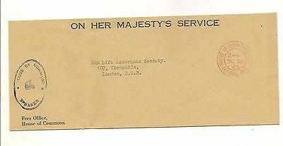 British House of Commons  & speaker front cover 1965  postmark official paid