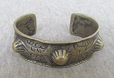 North African Tribal Bedouin Bronze Cuff Bracelet Hammered. Chased