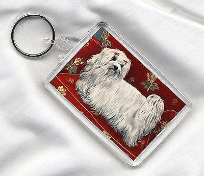 Key Ring With Lovely Maltese Dog Print Image Insert Great Gift