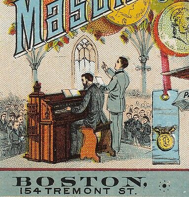Church Organ Mason & Hamlin Piano Co Eagle old Victorian Advertising Trade Card