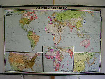 Schulwandkarte Weltkarte 1783-1914 vintage world roll wall map 202x133 Kolonien