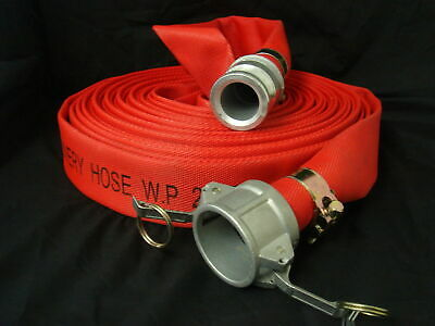 "Heavy Duty 2""x 20M Red 230Psi Layflat Hose with 2"" Type C & E Camlock ends"