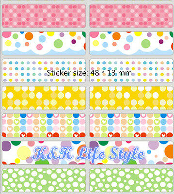 18, 36, 48 slim dots  Personalised vinyl name Label Sticker 4 School, Childcare