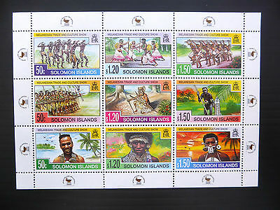 SOLOMON ISLANDS Wholesale Melanesian Trade Sheetlet of 9 x 50 U/M FP1117
