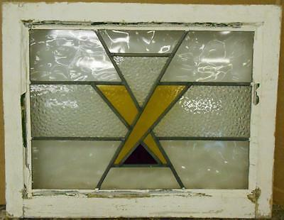 "OLD ENGLISH LEADED STAINED GLASS WINDOW Nice ""X"" Design 23.25"" x 18.5"""