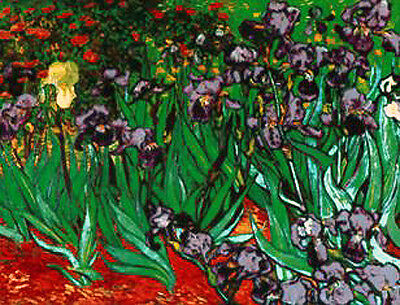"""New Glassmasters Van Gogh """"Irises"""" Stained Glass Panel New In Box"""