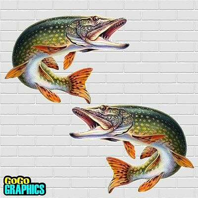 "Pair Awesome 10"" Pike Sticker / Decal - Free P&P"