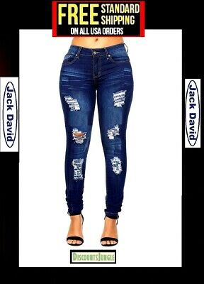 d2b36e51f02 CL WOMENS PLUS SIZE BLUE Denim Stretch CROP Ripped JEANS Skinny Distressed  Pants