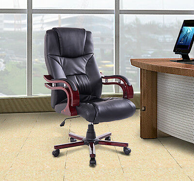 HOMCOM Executive Office Chair Seat Equipment PU Computer Swivel Furniture Black