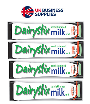 Dairystix 12ml UHT Semi Skimmed Milk Sticks Dairy Sticks from £0.99p Per 25!