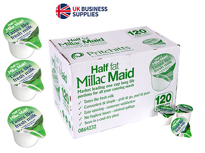 MILLAC MAID BOX of 120 LONG LIFE SEMI SKIMMED MILK CATERING JIGGERS