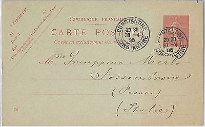 French Colonies: ALGERIA -  POSTAL STATIONERY CARD to ITALY 1906