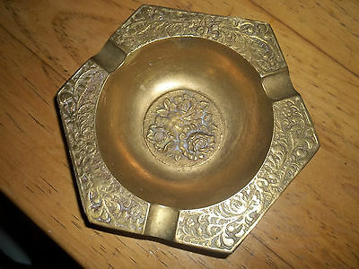 Vintage Brass Metal Three Rose Ash Tray Hexagon Made in S. Korea Floral Flowers