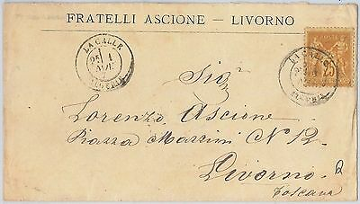 FRANCE / ALGERIA -  POSTAL HISTORY - French stamp on COVER from LA CALLE 1879