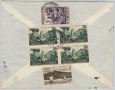 French colonies: Comores Comoros -  POSTAL HISTORY  COVER to FRANCE 1952 - TAXED
