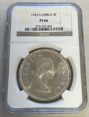 1953 Silver South Africa 5 Shillings Springbok Coin Ngc Proof 66