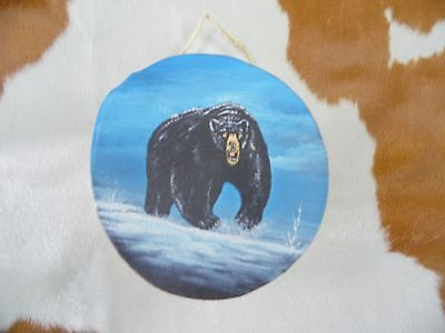 """Rawhide drums.Black Bear, Hand painted mini 4""""drum, Souvenirs, Crafts,Gifts, art"""